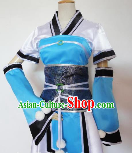 Traditional Chinese Ancient Cosplay Swordsman Clothing Han Dynasty Young Lady Blue Costume for Women