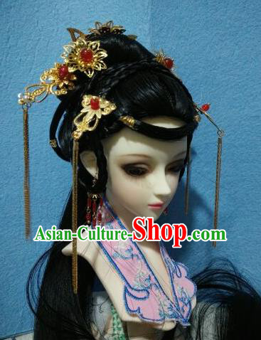 Traditional Handmade Chinese Tang Dynasty Palace Princess Hair Accessories Hairpins and Wig for Women