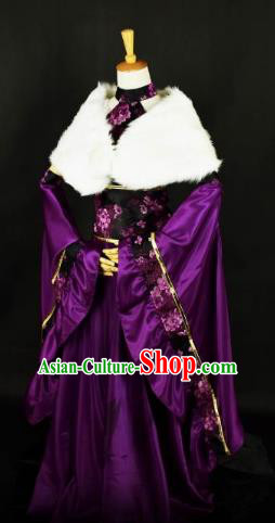 Traditional Chinese Ancient Princess Hanfu Purple Costume Tang Dynasty Palace Lady Clothing for Women
