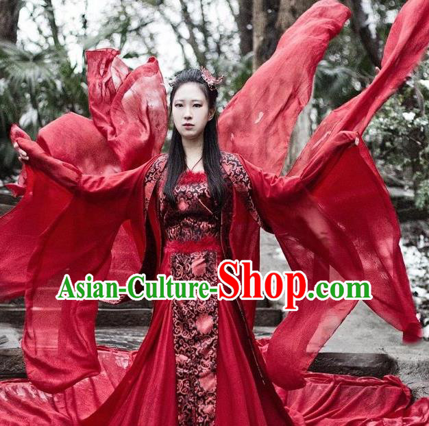 Traditional Chinese Ancient Bride Hanfu Costume Han Dynasty Palace Lady Princess Clothing for Women