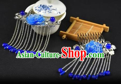 Traditional Handmade Chinese Hair Accessories Hairpins Blue Beads Tassel Hair Stick Headwear for Women