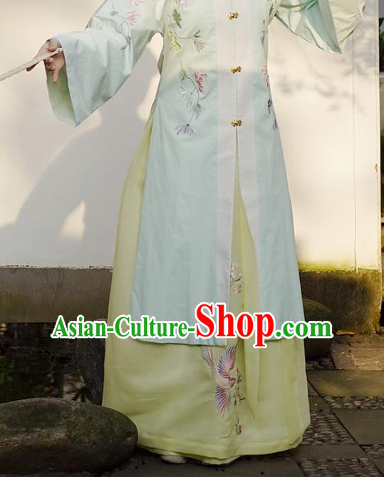 Traditional Chinese Ming Dynasty Young Lady Costume Ancient Embroidered Yellow Skirts for Women
