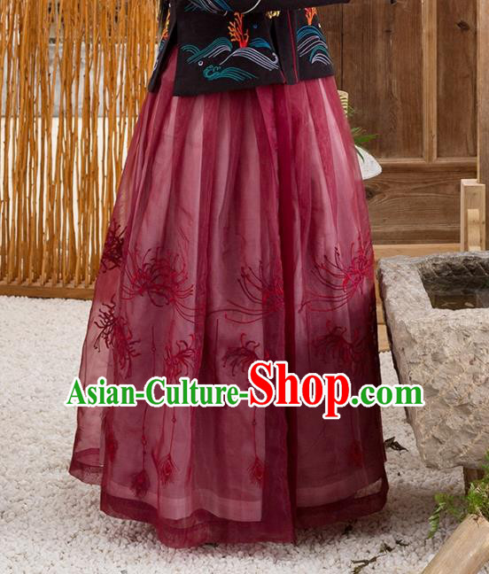 Traditional Chinese Ming Dynasty Young Lady Costume Ancient Embroidered Equinox Flower Skirts for Women