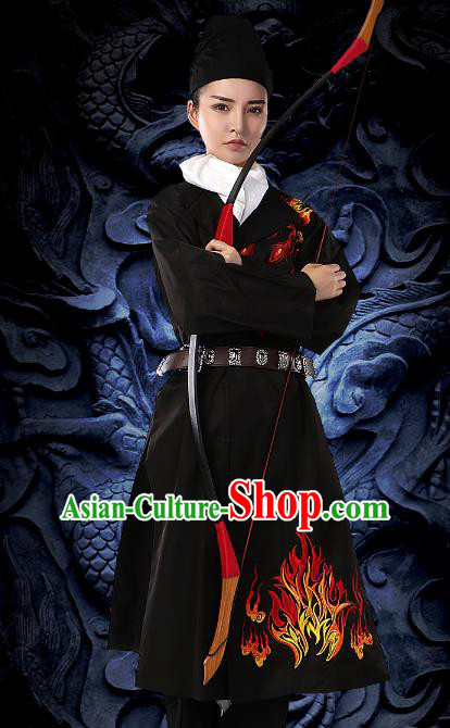 Traditional Chinese Tang Dynasty Swordsman Black Costume Ancient Imperial Bodyguard Embroidered Clothing for Women