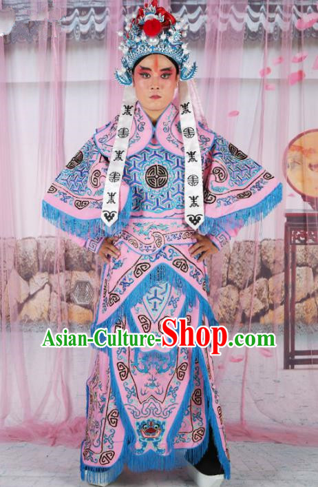 Chinese Beijing Opera Takefu Costume Pink Embroidered Robe, China Peking Opera Imperial Bodyguard Embroidery Gwanbok Clothing