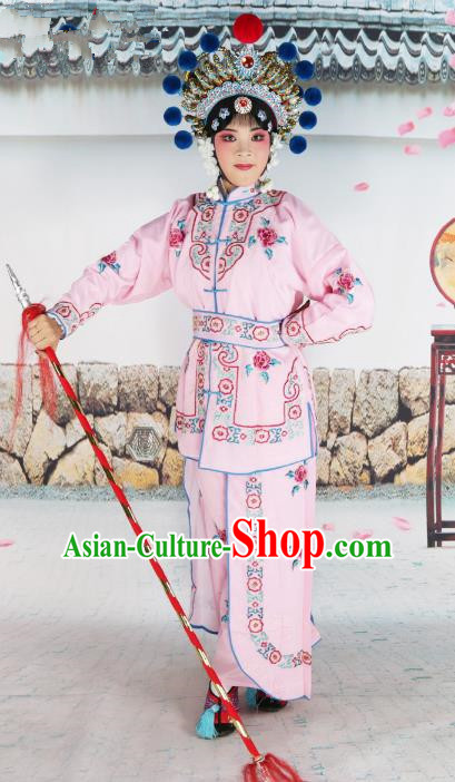 Chinese Beijing Opera Warrior Embroidered Pink Costume, China Peking Opera Blues Actress Embroidery Clothing