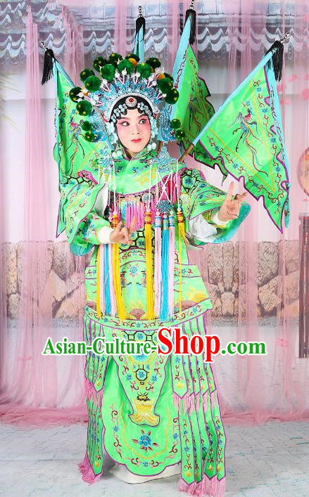 Chinese Beijing Opera Female General Costume Embroidered Green Armour, China Peking Opera Blues Embroidery Gwanbok Clothing