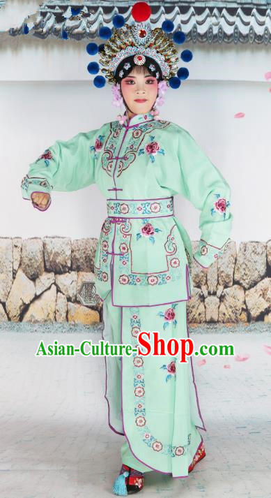 Chinese Beijing Opera Warrior Embroidered Green Costume, China Peking Opera Blues Embroidery Clothing
