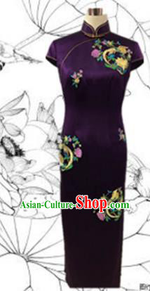 Traditional Chinese National Costume Mandarin Qipao, Tang Suit Chirpaur Embroidered Purple Silk Cheongsam Clothing for Women