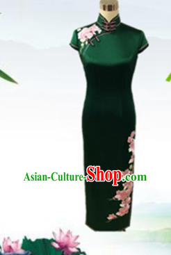 Traditional Chinese National Costume Wedding Mandarin Qipao, Tang Suit Atrovirens Chirpaur Silk Cheongsam Clothing for Women