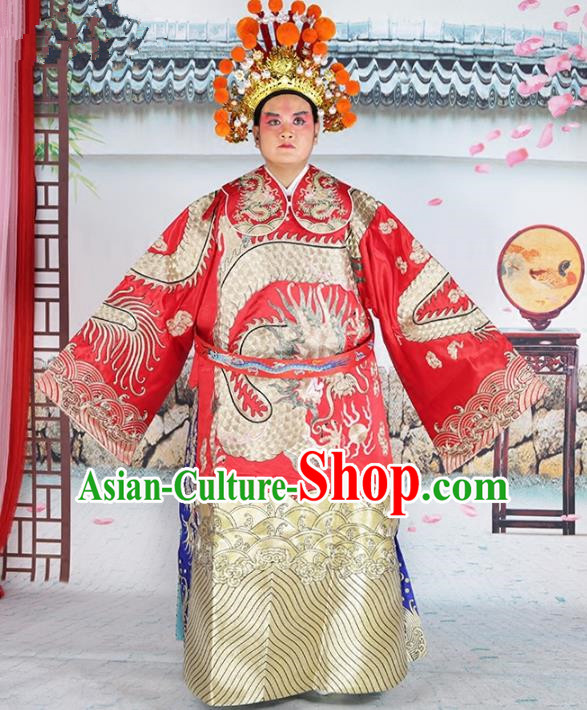 Chinese Beijing Opera Royal Highness Costume Red Embroidered Robe, China Peking Opera Lang Scholar Embroidery Gwanbok Clothing