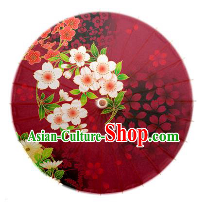 Asian China Dance Umbrella Handmade Classical Printing Flowers Oil-paper Umbrellas Stage Performance Wine Red Umbrella