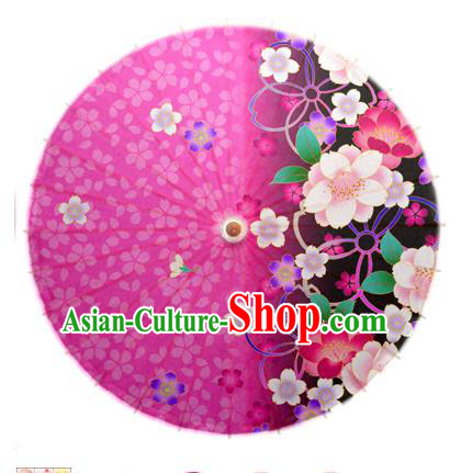 Asian China Dance Umbrella Handmade Classical Printing Flowers Oil-paper Umbrellas Stage Performance Rosy Umbrella