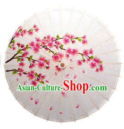 Asian China Dance Umbrella Handmade Classical Printing Peach Flowers Oil-paper Umbrellas Stage Performance Umbrella