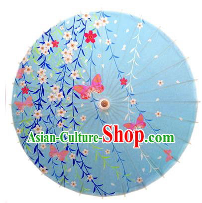 Asian China Dance Umbrella Handmade Classical Printing Butterfly Oil-paper Umbrellas Stage Performance Umbrella