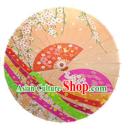 Asian China Dance Umbrella Handmade Classical Printing Flowers Yellow Oil-paper Umbrellas Stage Performance Umbrella