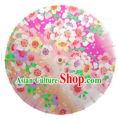 Asian China Dance Umbrella Handmade Classical Printing Flowers Pink Oil-paper Umbrellas Stage Performance Umbrella