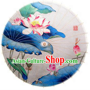 Asian China Dance Umbrella Stage Performance Umbrella Hand Painting Lotus White Oil-paper Umbrellas