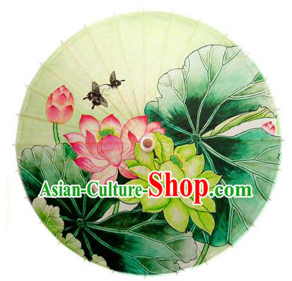 Asian China Dance Umbrella Stage Performance Umbrella Hand Painting Lotus Green Oil-paper Umbrellas