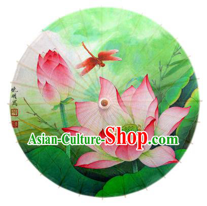 Asian China Dance Umbrella Stage Performance Umbrella Hand Ink Painting Lotus Dragonfly Green Oil-paper Umbrellas