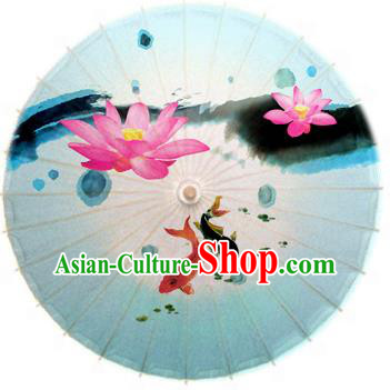 Asian China Dance Umbrella Stage Performance Umbrella Hand Ink Painting Lotus Blue Oil-paper Umbrellas