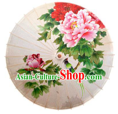 Asian China Dance Handmade Umbrella Stage Performance Umbrella Printing Peony White Oil-paper Umbrellas