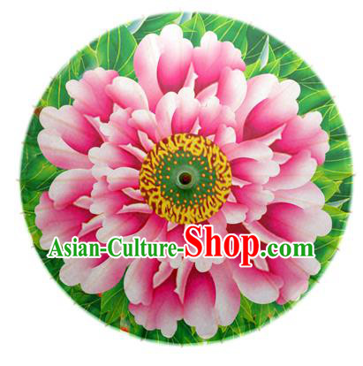 Asian China Dance Handmade Umbrella Stage Performance Umbrella Printing Peony Green Oil-paper Umbrellas