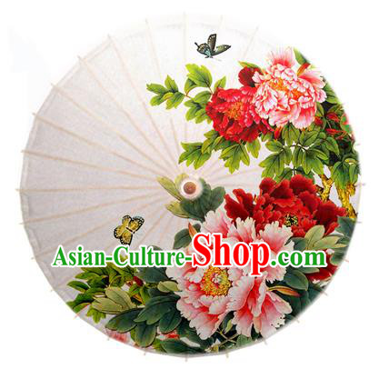 Asian China Dance Handmade Umbrella Stage Performance Umbrella Printing Peony Flowers White Oil-paper Umbrellas