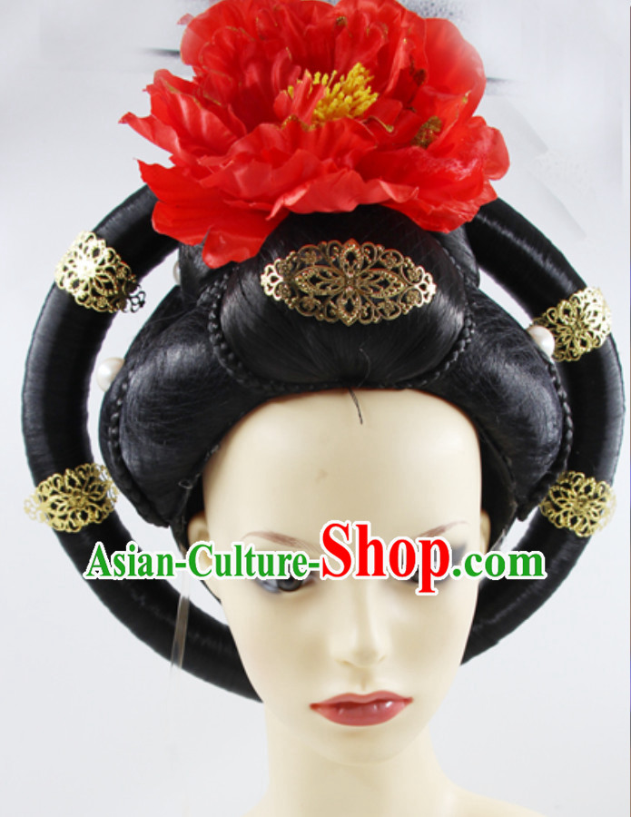 Ancient Chinese Tang Dynasty Empress Wig and Hair Accessories