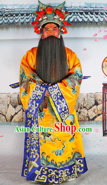 Chinese Beijing Opera Prime Minister Costume Yellow Embroidered Robe, China Peking Opera Officer Embroidery Clothing