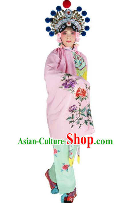 Chinese Beijing Opera Female Soldier Costume Embroidered Pink Short Cloak, China Peking Opera Blues Embroidery Mantle Clothing