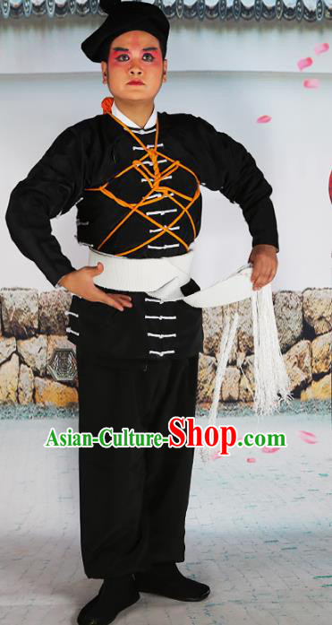 Chinese Beijing Opera Takefu Costume Black Embroidered Robe, China Peking Opera Embroidery Clothing