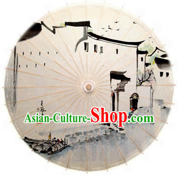 Asian China Dance Handmade Umbrella Stage Performance Props Umbrella Ink Painting Oil-paper Umbrellas