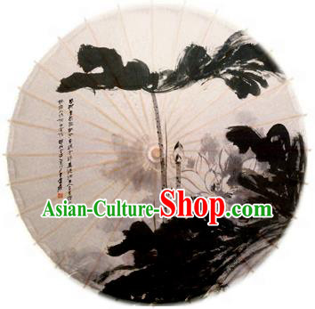 Asian China Dance Handmade Umbrella Stage Performance Props Umbrella Ink Painting Lotus Oil-paper Umbrellas