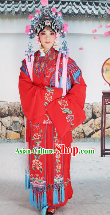 Chinese Beijing Opera Diva Palace Lady Embroidered Red Costume, China Peking Opera Actress Embroidery Clothing