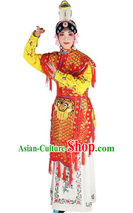 Chinese Beijing Opera Female Soldier Embroidered Red Costume, China Peking Opera Blues Embroidery Clothing