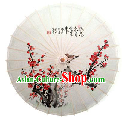Asian China Dance Handmade Umbrella Printing Winter Plum Blossom Oil-paper Umbrella Stage Performance Props Umbrellas