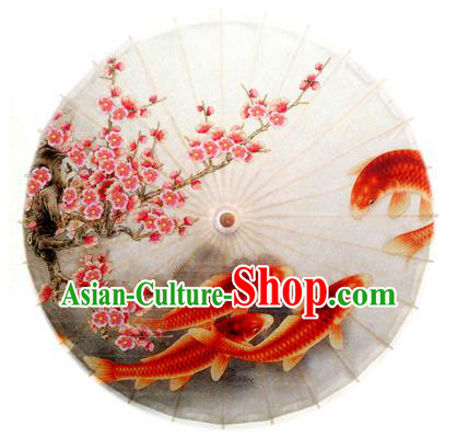 China Traditional Dance Handmade Umbrella Painting Fish Plum Blossom Oil-paper Umbrella Stage Performance Props Umbrellas