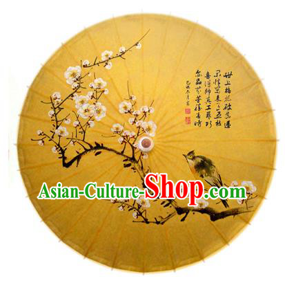 China Traditional Dance Handmade Umbrella Painting Bird Plum Blossom Oil-paper Umbrella Stage Performance Props Umbrellas