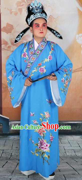 Chinese Beijing Opera Niche Costume Blue Embroidered Robe, China Peking Opera Scholar Embroidery Peony Clothing