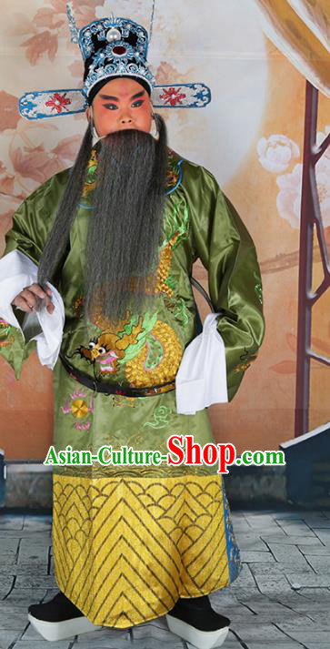 Chinese Beijing Opera Prime Minister Costume Green Embroidered Robe, China Peking Opera Officer Embroidery Clothing