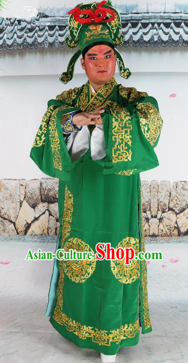 Chinese Beijing Opera Niche Costume Green Embroidered Robe, China Peking Opera Scholar Embroidery Clothing