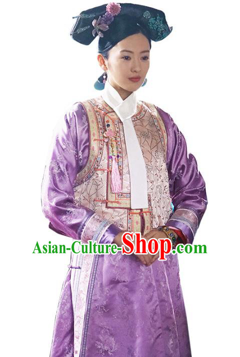 Traditional Chinese Ancient Qing Dynasty Palace Lady Manchu Imperial Concubine Embroidered Costume for Women