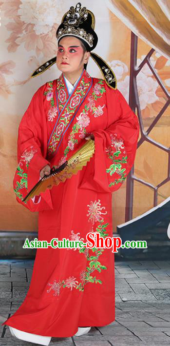 Chinese Beijing Opera Niche Costume Red Embroidered Robe, China Peking Opera Scholar Embroidery Chrysanthemum Clothing