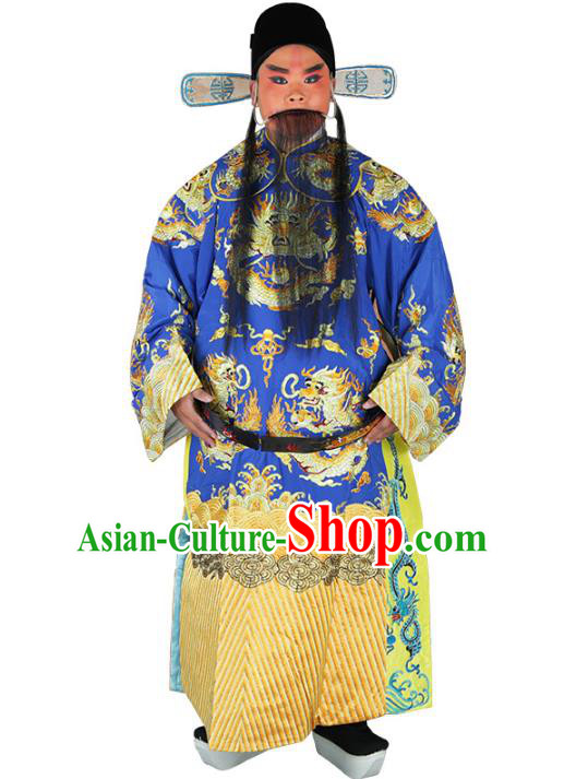 Chinese Beijing Opera Prime Minister Costume Blue Embroidered Robe, China Peking Opera Chancellor Embroidery Clothing