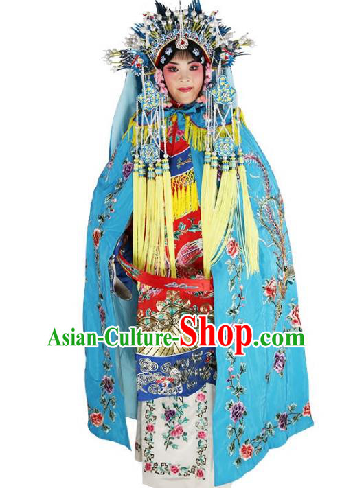 Chinese Beijing Opera Swordplay Lady Costume Embroidered Blue Cloak, China Peking Opera Blues Embroidery Mantle Clothing