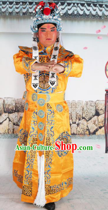 Chinese Beijing Opera Takefu Costume Yellow Embroidered Robe, China Peking Opera Imperial Bodyguard Embroidery Clothing
