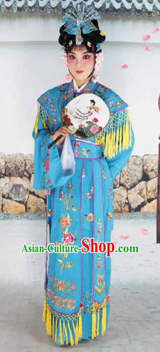 Chinese Beijing Opera Diva Palace Lady Embroidered Blue Costume, China Peking Opera Actress Embroidery Clothing