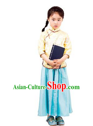 Traditional Chinese Ancient Republic of China Nobility Lady Costume Embroidered Blouse and Blue Skirt for Kids