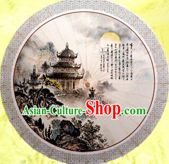 China Traditional Dance Handmade Umbrella Painting Buddhist Pagoda Oil-paper Umbrella Stage Performance Props Umbrellas